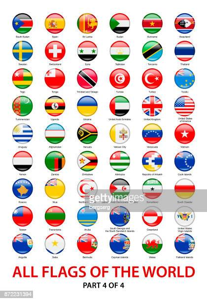 all waving world flags. vector round icons collection - national flag stock illustrations, clip art, cartoons, & icons
