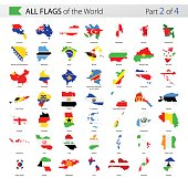 All World Country Contour Vector Flags - Collection