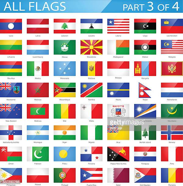 All World Flags - Glossy Rectangle Icons - Illustration