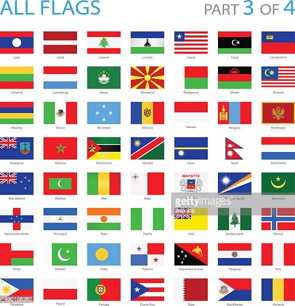 all world flags - illustration - madagascar stock illustrations, clip art, cartoons, & icons