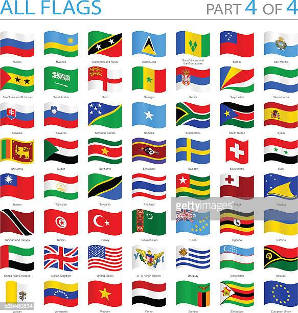 all world flags - swung icons - illustration - eastern europe stock illustrations, clip art, cartoons, & icons