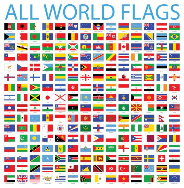 all world flags - vector icon set - vector stock illustrations
