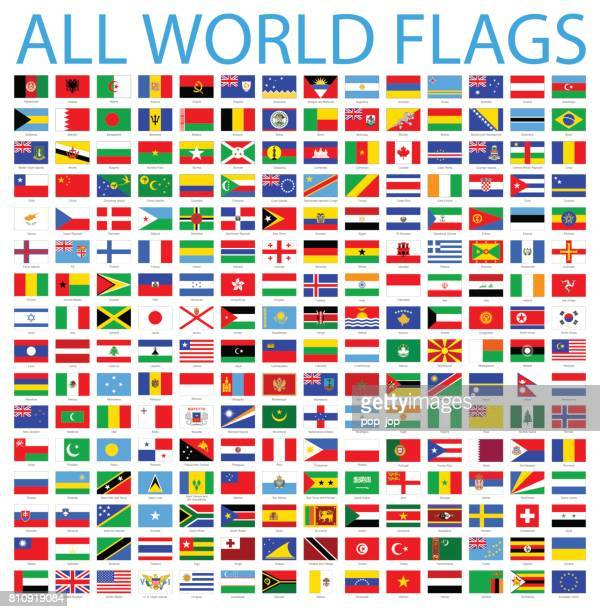 all world flags - vector icon set - flag stock illustrations