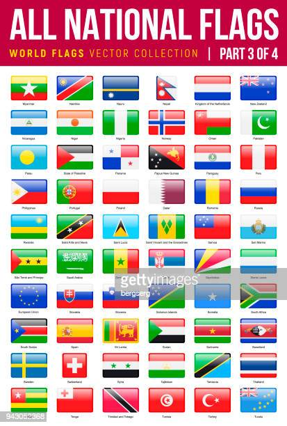 all world flags. vector rectangle glossy icons. part 3 of 4 - panama city panama stock illustrations, clip art, cartoons, & icons