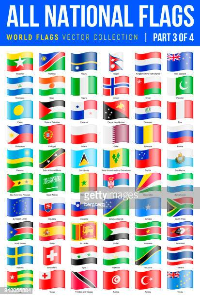 All World Flags. Vector Waving Glossy Icons. Part 3 of 4