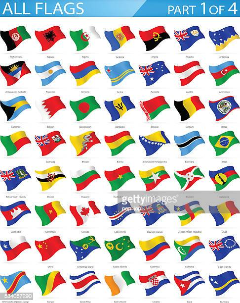 all world flags - waving icons - illustration - bahrain stock illustrations, clip art, cartoons, & icons