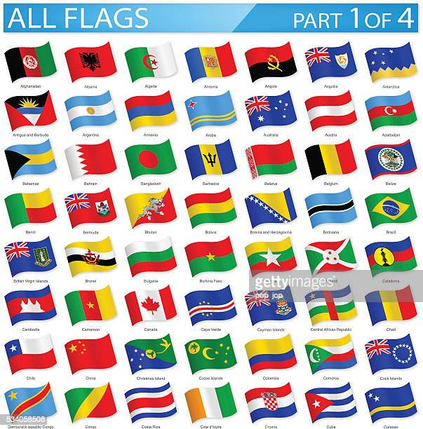 all world flags - waving icons - illustration - national flag stock illustrations