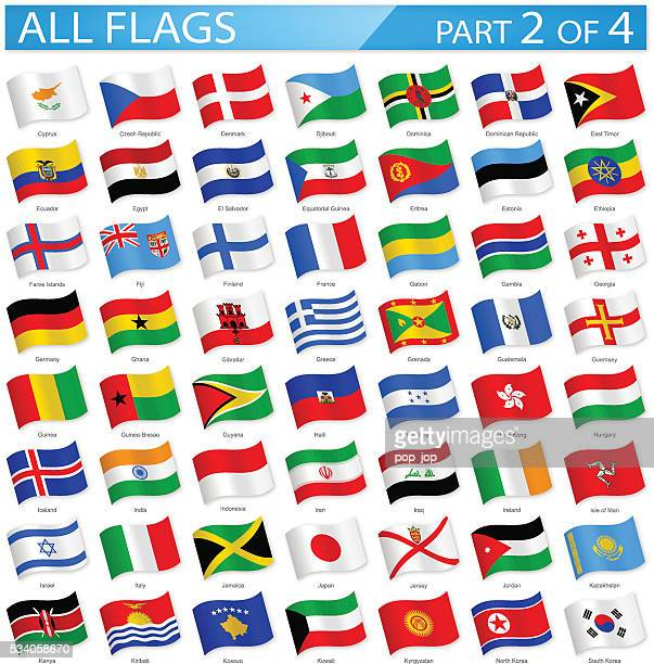 all world flags - waving icons - illustration - iberian peninsula stock illustrations, clip art, cartoons, & icons