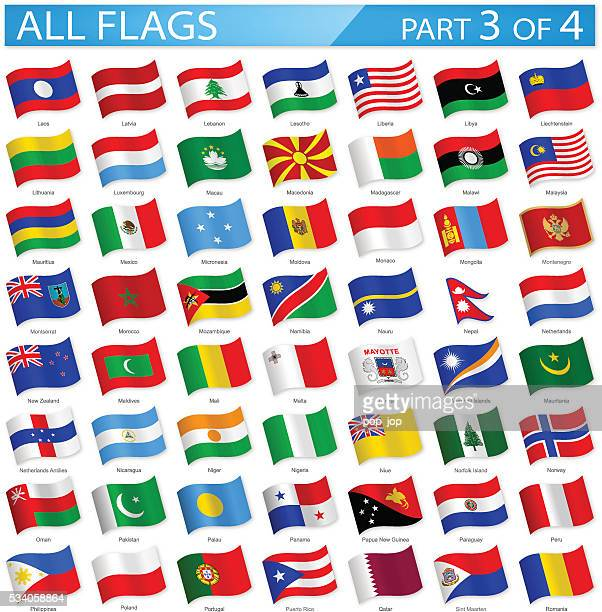 all world flags - waving icons - illustration - macao stock illustrations