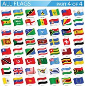 All World Flags - Waving Icons - Illustration