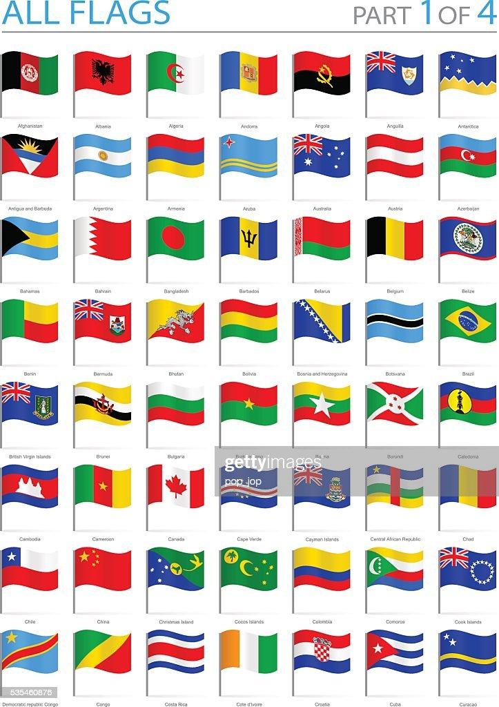 All World Flags Waving Pins Illustration stock illustration