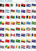 All World Flags - Waving Pins - Illustration