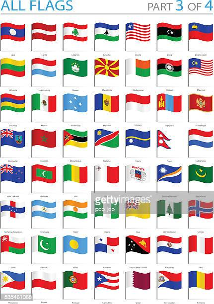 all world flags - waving pins - illustration - straight pin stock illustrations, clip art, cartoons, & icons