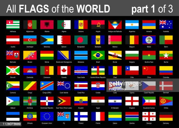 all world national flags icon set - alphabetically - part 1 of 3 - vector illustration - croatian flag stock illustrations, clip art, cartoons, & icons