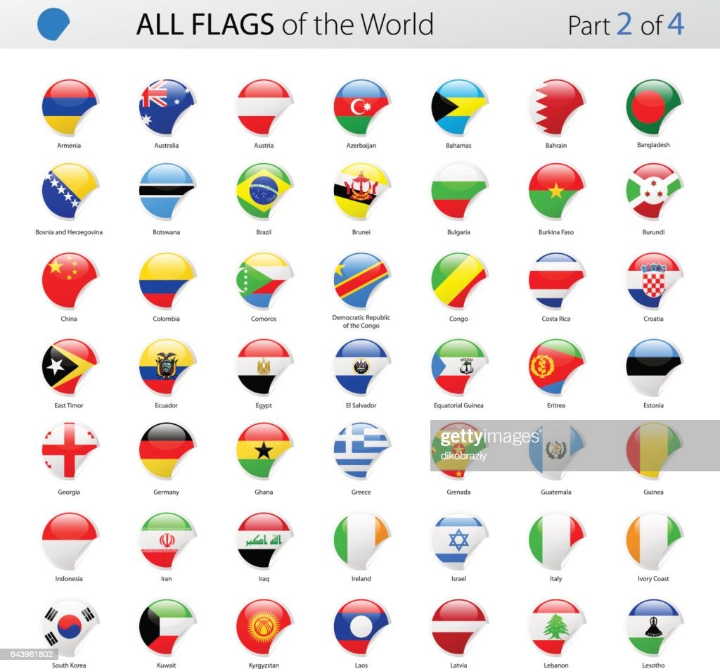 All World Round Corner Vector Flags - Collection