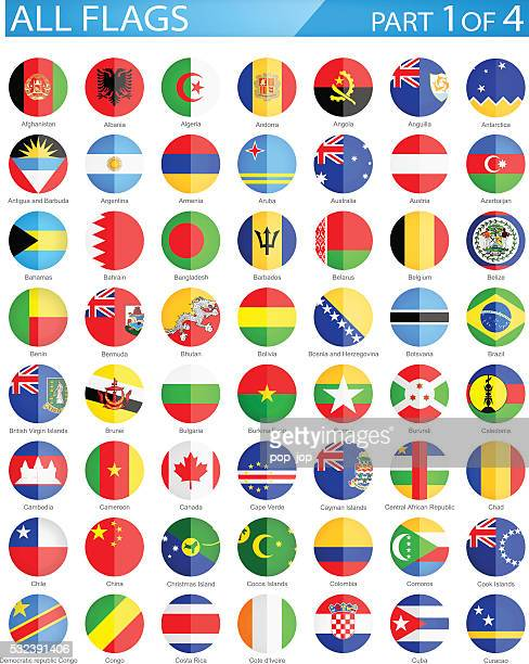 all world round flag flat icons - illustration - cameroon stock illustrations, clip art, cartoons, & icons