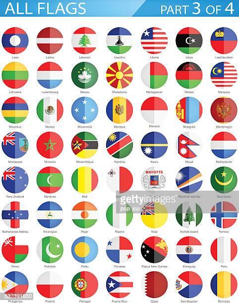alle welt runde flaggen-illustration wohnung symbole - monaco stock-grafiken, -clipart, -cartoons und -symbole