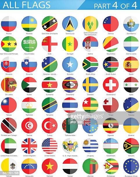 alle welt runde flaggen-illustration wohnung symbole - russische flagge stock-grafiken, -clipart, -cartoons und -symbole