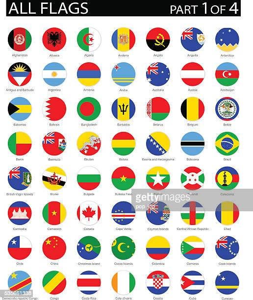 all world round flag flat icons - illustration - bahrain stock illustrations, clip art, cartoons, & icons