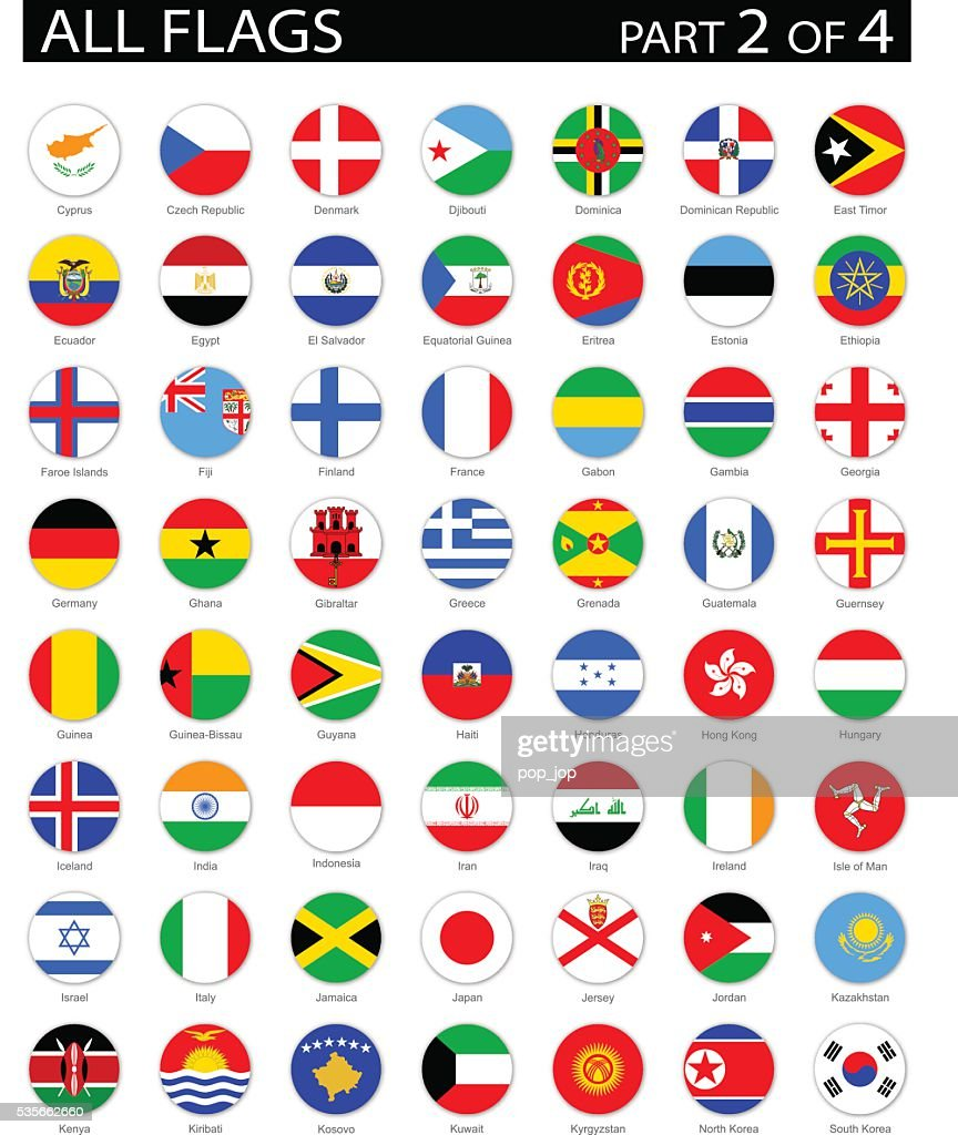 All World Round Flag Flat Icons - Illustration