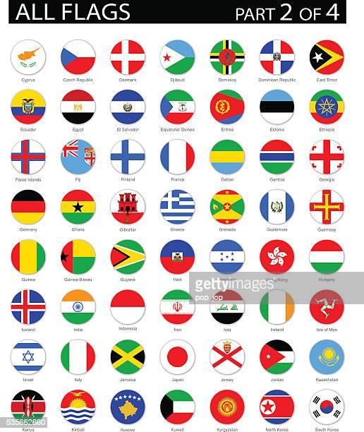 All World Round Flag Flat Icons - Illustration