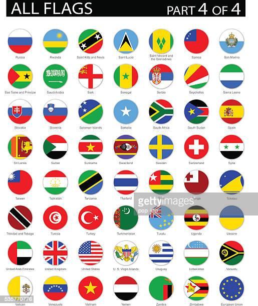 全世界ラウンド国旗のフラットアイコン-イラストレーション