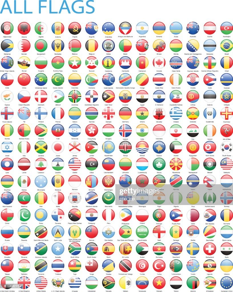 All World Round Flag Icons - Illustration