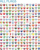 All World Round Flag Icons - Illustration
