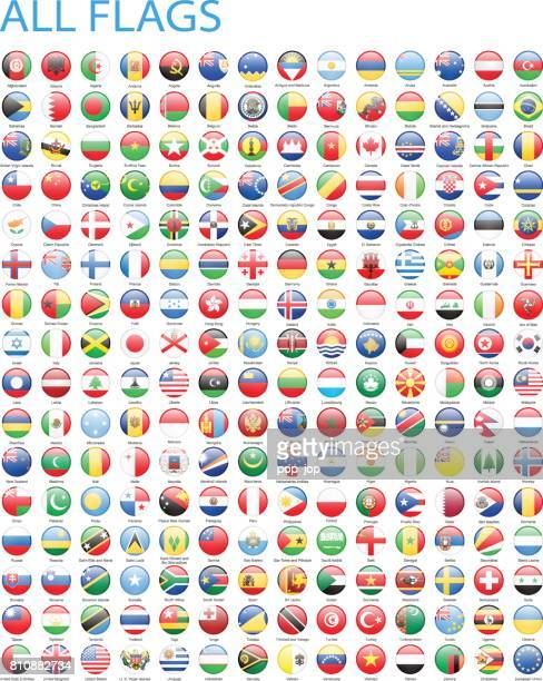 all world round flag icons - illustration - flag stock illustrations