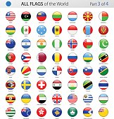 All World Round Glossy Vector Flags - Collection