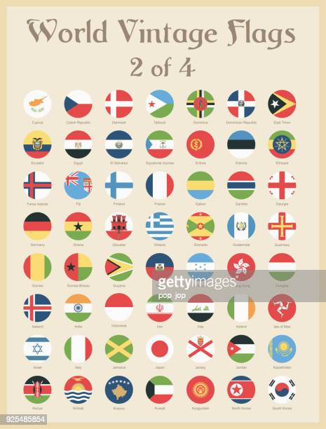 all world round vintage colored flags - vector - national flag stock illustrations
