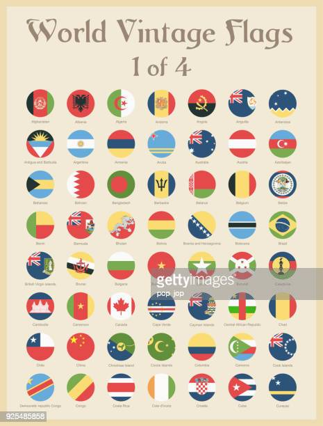 all world round vintage colored flags - vector - national flag stock illustrations, clip art, cartoons, & icons