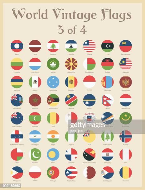 alle welt runde vintage farbigen fahnen - vektor - norwegische flagge stock-grafiken, -clipart, -cartoons und -symbole