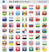 All World Square Glossy Vector Flags - Collection
