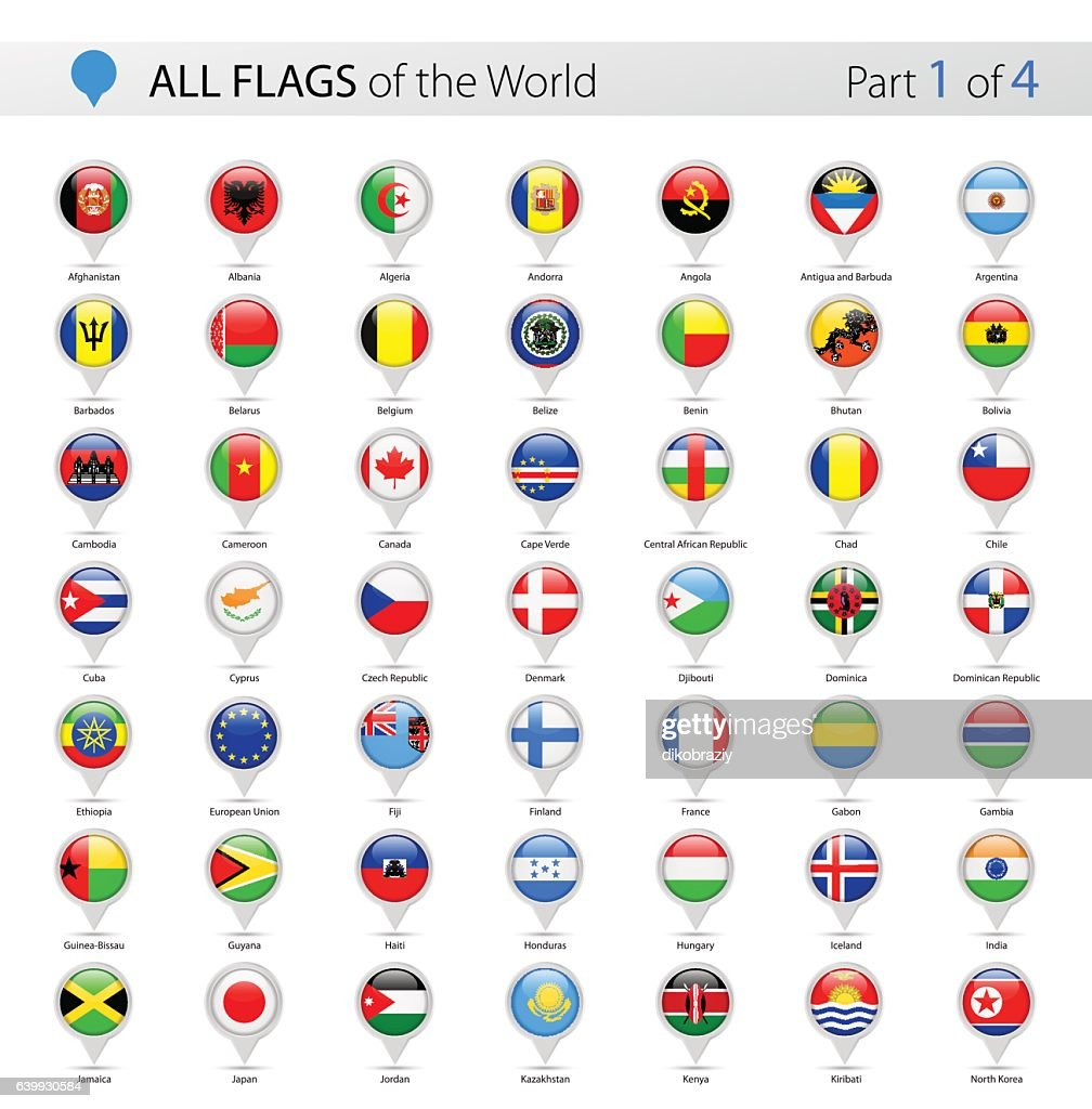 All World Vector Round Flag Pins - Collection