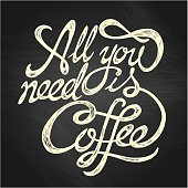 """""""All You Need is Coffee"""" quote on the blackboard background"""