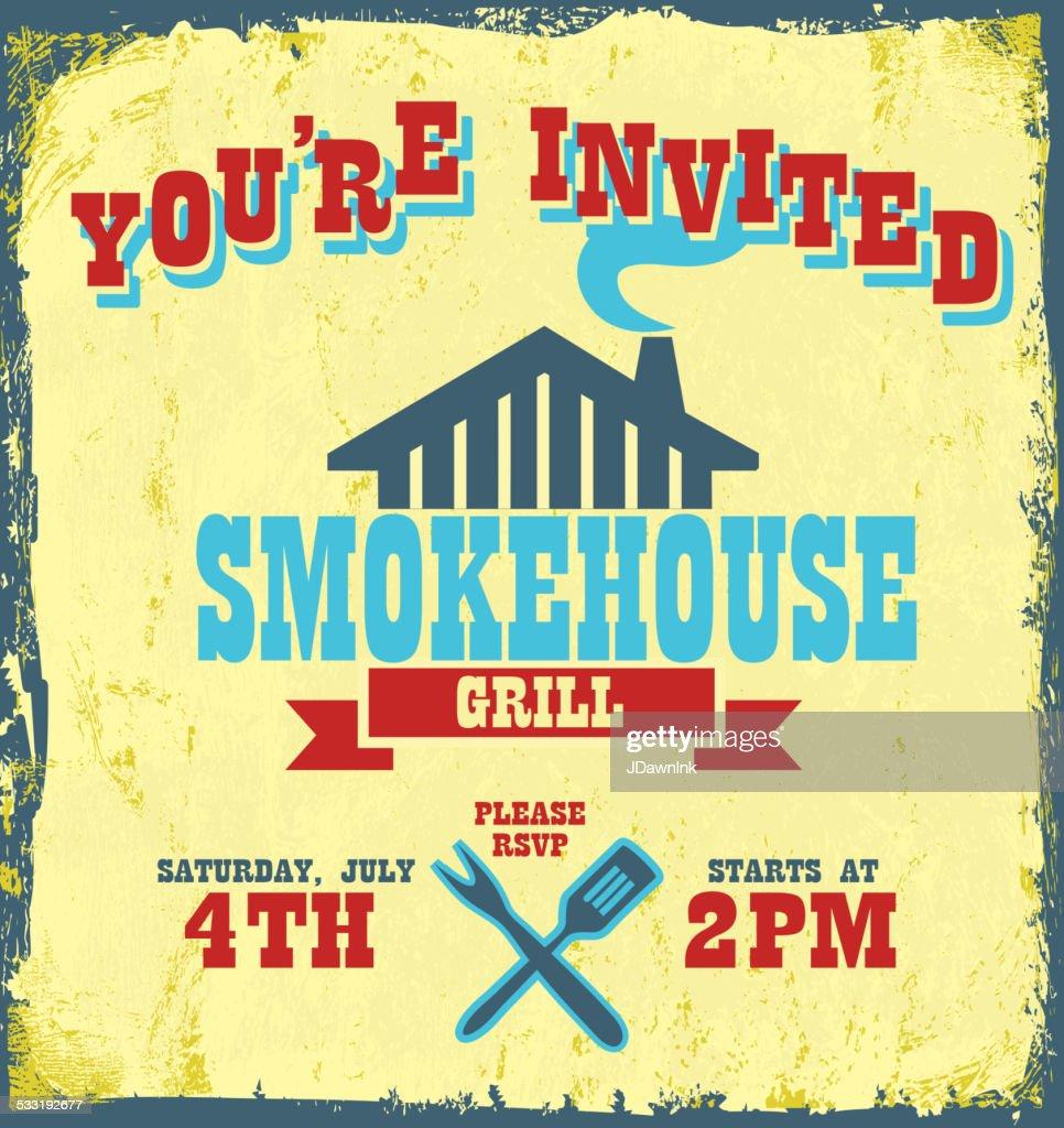 allamerican bbq themed invitation design with smokehouse grill