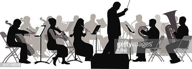 allegretto - orchestra stock illustrations