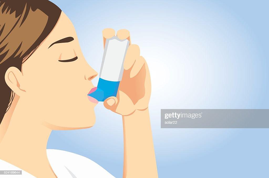 Allergic patient use asthma inhalers