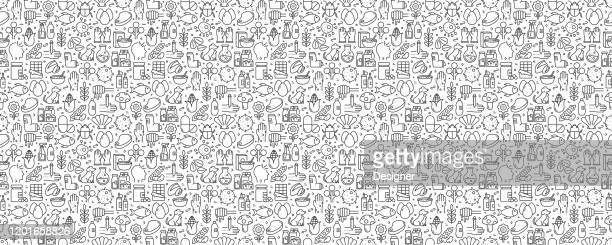 allergy and basic allergens seamless pattern and background with line icons - pollen stock illustrations