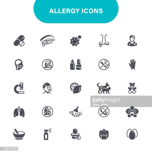 allergy and pollen icons - pollen stock illustrations