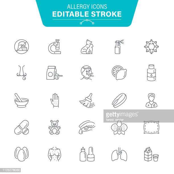 allergy line icons - coughing stock illustrations