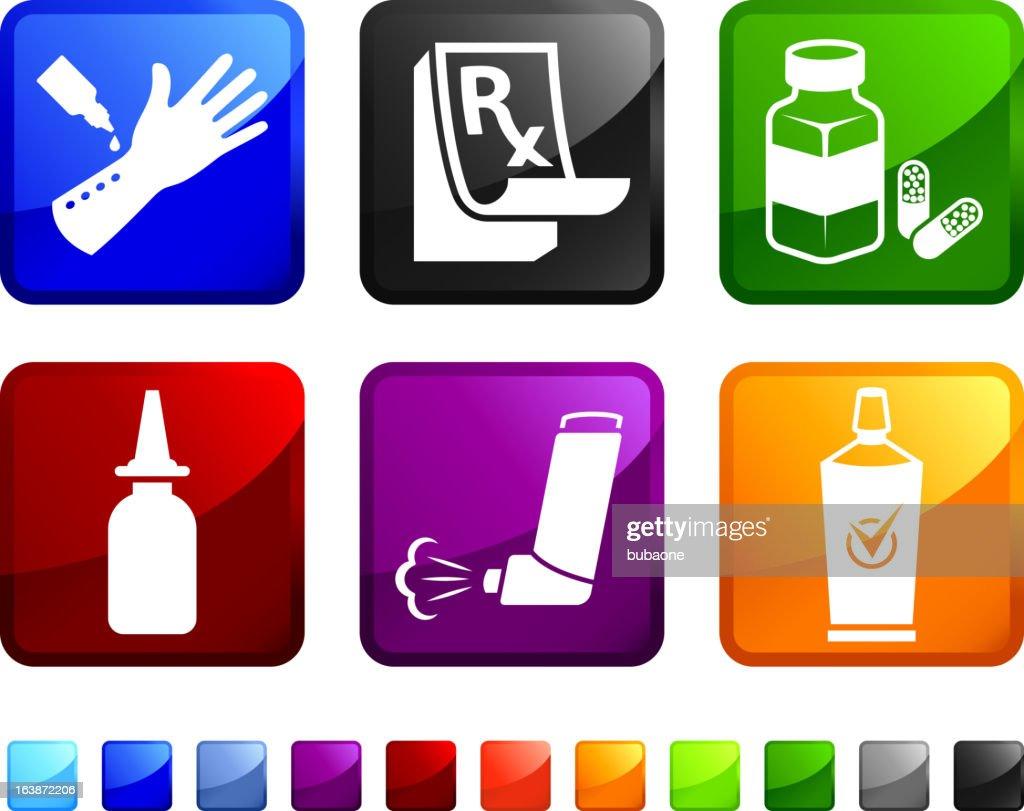 Allergy Medicine royalty free vector icon set stickers