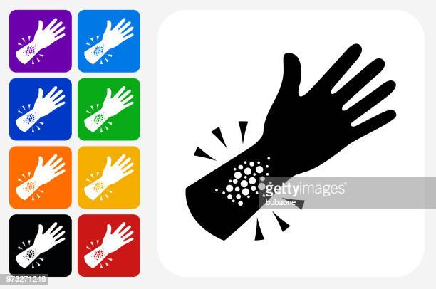 stockillustraties, clipart, cartoons en iconen met allergie reactie pictogram vierkante knop set - huidaandoening