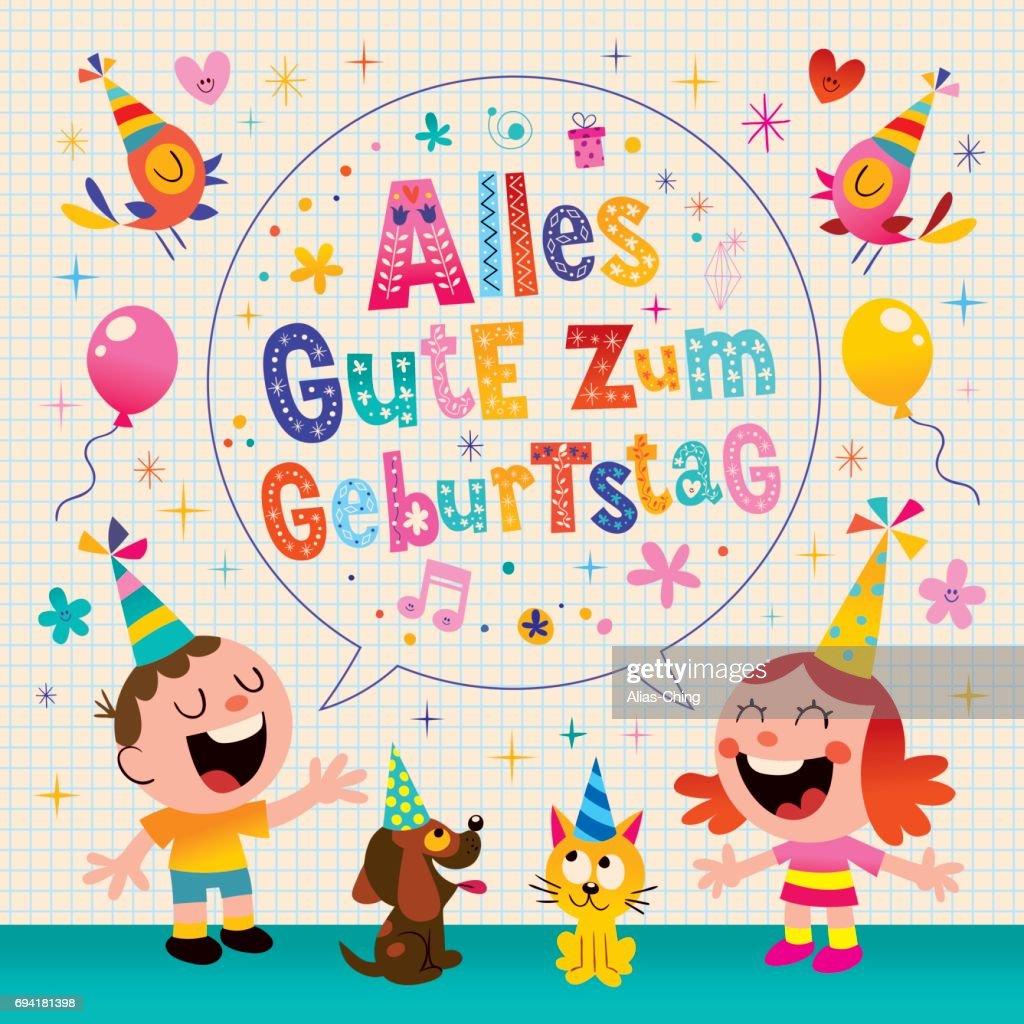 alles gute zum geburtstag deutsch german happy birthday greeting card vector art