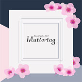 alles gute zum Muttertag is Happy Mother's day in german. Floral vector background with cherry blossom. Modern elegant design frame.