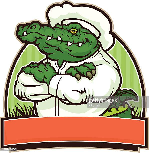 alligator chef - alligator stock illustrations, clip art, cartoons, & icons