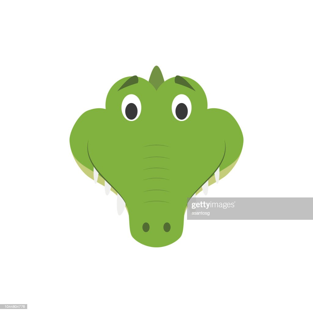 Alligator face in cartoon style for children. Animal Faces Vector illustration Series