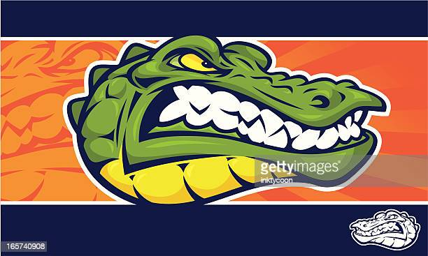 alligator mascot banner - alligator stock illustrations, clip art, cartoons, & icons