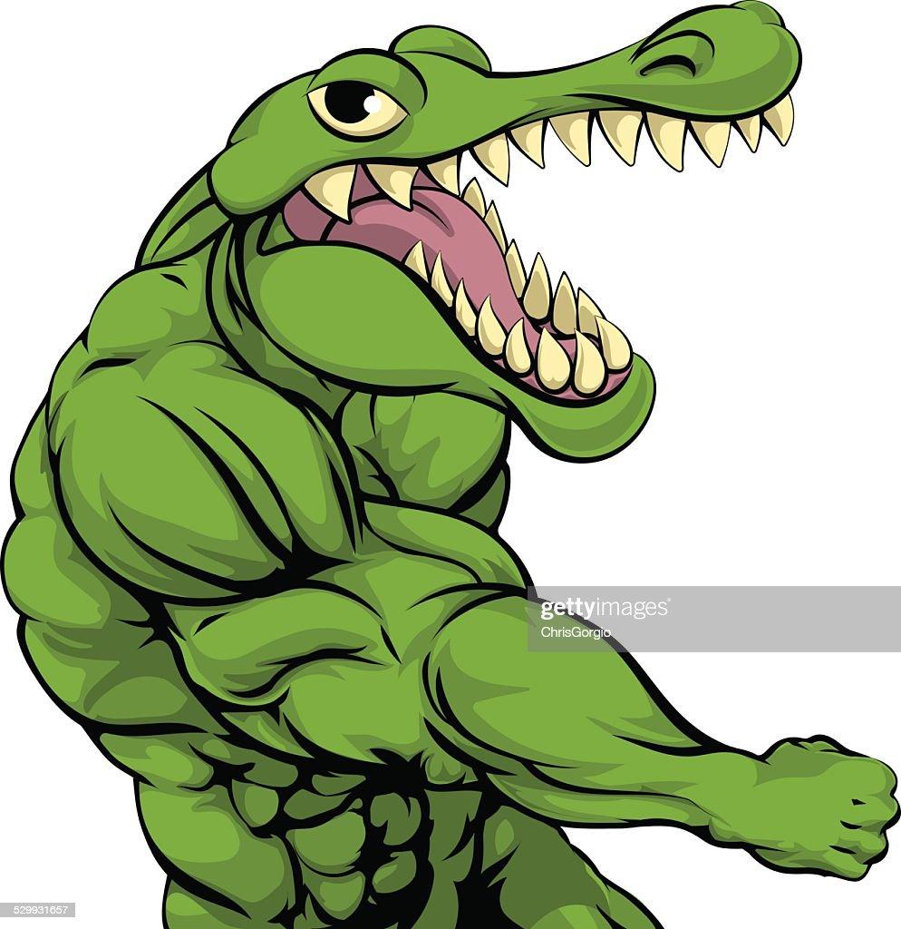 Alligator or crocodile mascot punching